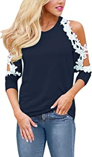 StyleDome Sexy Lace T Shirt Short Sleeve Summer Tops Cold Shoulder Floral Crochet Tees for Women Casual