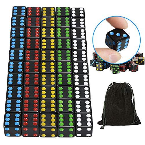 YOUSHARES 50 PCS Mehrfarben Würfel Set - Spielwürfel je 10 Teilen, 16 mm D6-Standardwürfel mit Tragetasche für Brettspiele: Tenzi und Casino-Spiele (Schwarz)