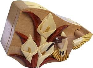 Madera Bonita! Hummingbird handmade Intarsia puzzle box crafted from hi-end Beachwood felt lined interior