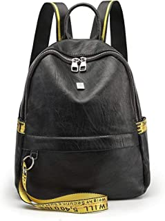 LJL Backpack Korean personality wild school bag travel bag new tide fashion pu soft leather casual backpack Color : Black