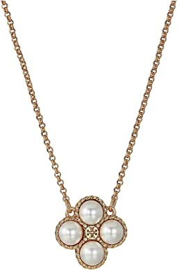 Rope Pearl Clover Pendant Necklace