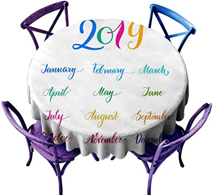 AFGG Fashions Table Cloth 2019 Multicolored Names Months Calendar Lettering Table Cover for Home Restaurant 35 INCH