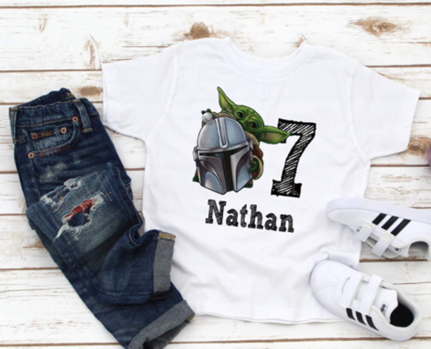 Star Wars Yoda Manadalorian birthday shirt boy name for Sales Max 58% OFF sale with