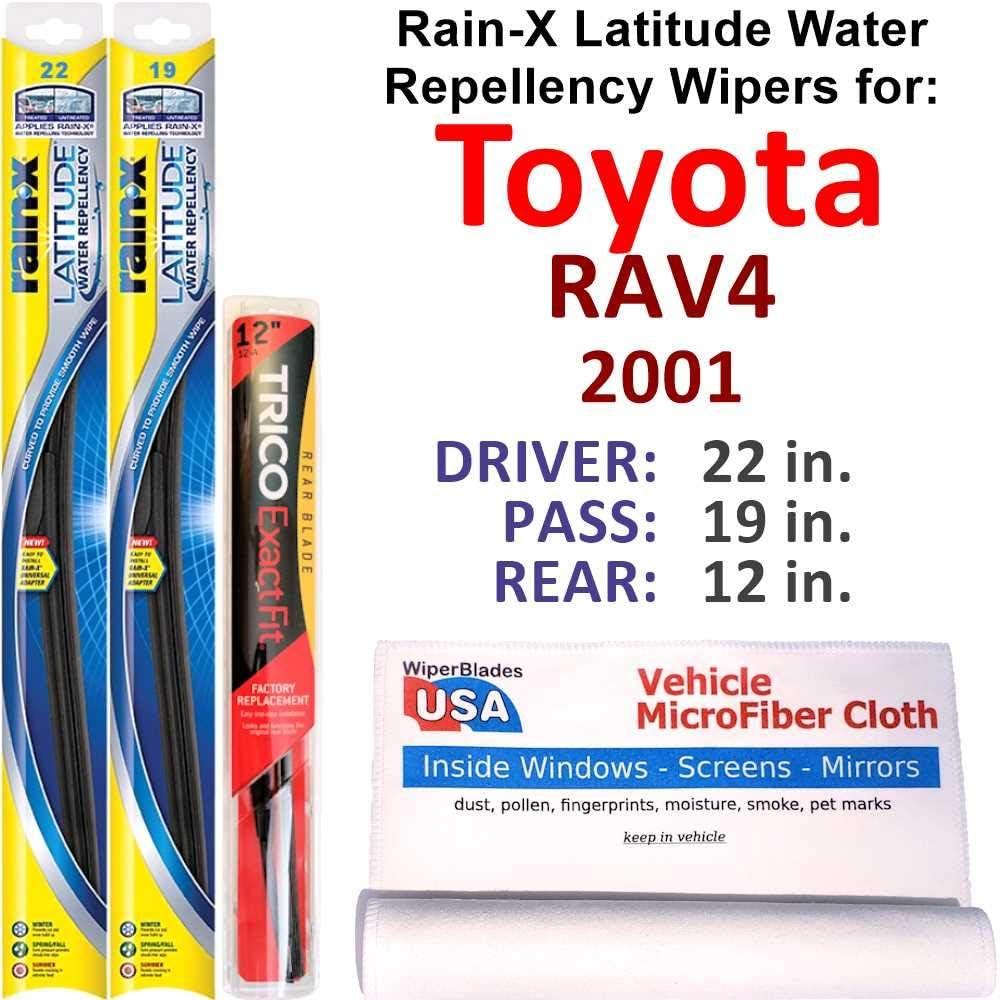 Rain-X Tulsa Mall Latitude Beam w Water Repellency Japan Maker New Toyota Set for RAV4 2001