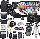 EOS M50 Mark II Mirrorless Digital Camera with 15-45mm Lens Kit (Black) + Wide Angle Lens + 2X Telephoto Lens + Flash + SanDisk 32GB SD Memory Card + Video Accessory Bundle
