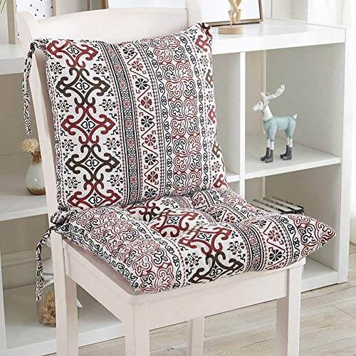 jHuanic Cojín para silla con asiento trasero, cojín de respaldo con correas, cojín de respaldo bajo para jardín, silla de comedor, asiento elevador para interior y exterior, Rosa, 45 x 45cm