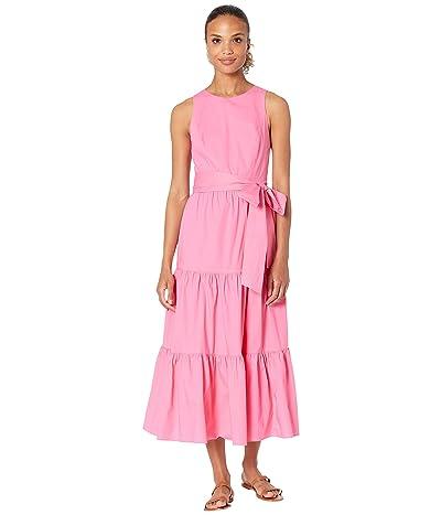 Tahari by ASL Sleeveless Tiered Cotton Poplin Maxi Dress with Tie Waist