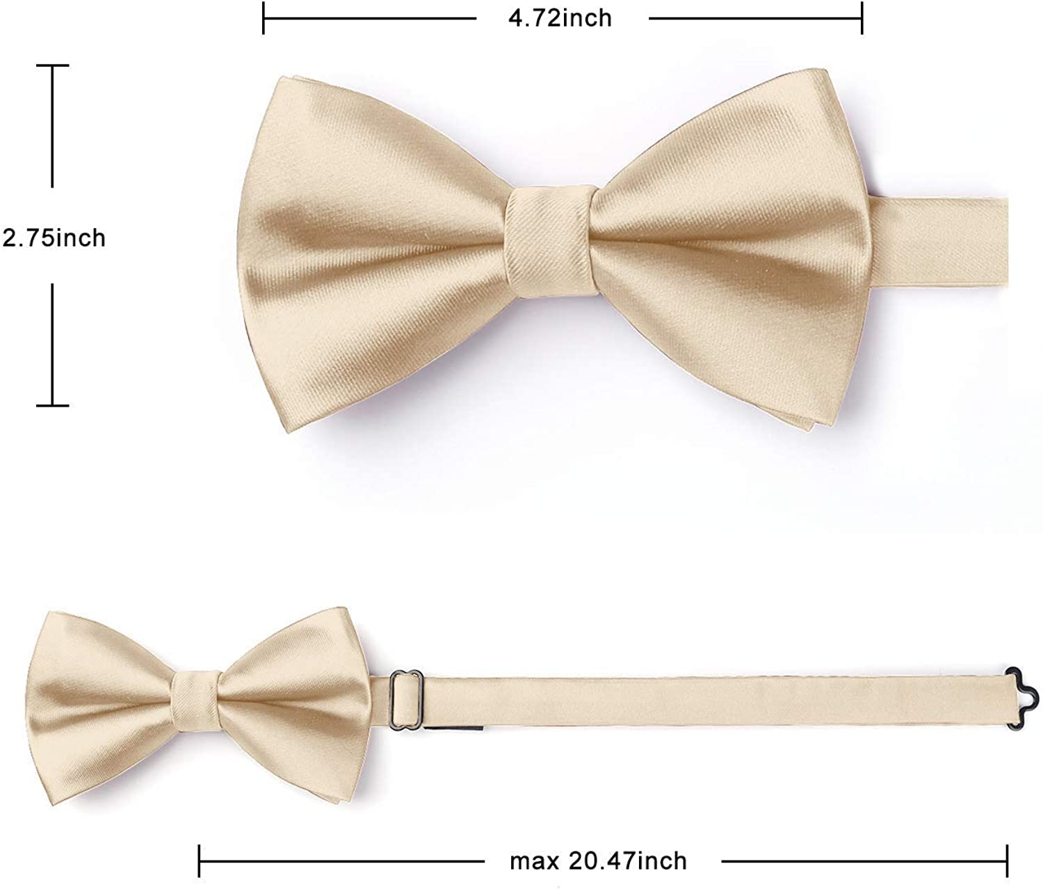 Bow Ties for Men Solid Color Pre-Tie Bow Tie and Pocket Square Set Classic Formal Tuxedo Bowties for Wedding & Party