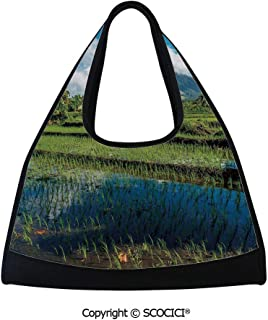 Tennis racket bag,Idyllic View of Mayon Volcano Mountain in Philippines Tropical Landscape Decorative,Multi Functional Bag (18.5x6.7x20 in) Blue Green White
