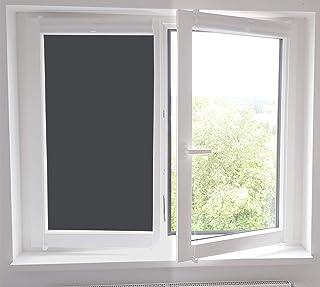TimaloR Blickdichte Verdunkelungsfolie Selbstklebende Fensterfolie Sichtschutzfolie Klebefolie Sonnenschutzfolie Dunkle Folie Fenster UV Schutz