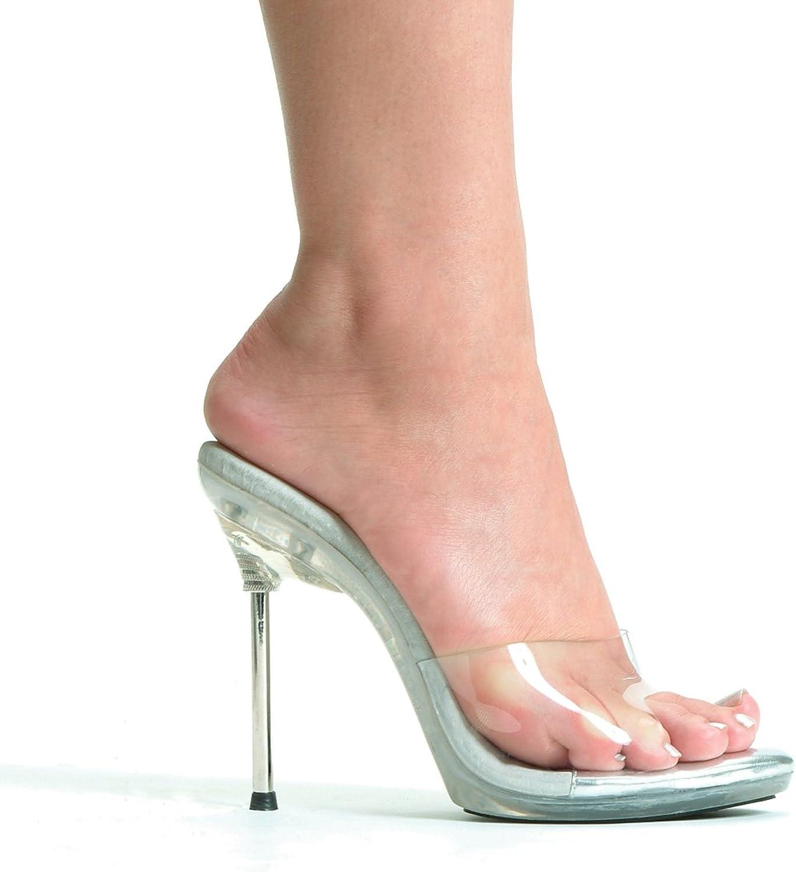 Ellie 458-VANITY 4.5  Metallic Heel Clear Mule