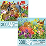 Bits and Pieces - Value Set of Two (2) 300 Piece Jigsaw Puzzles for Adults - Each Puzzle Measures 18' X 24' - Bunnies and Birdhouse, Friendly Mice - 300 pc Jigsaws by Artist Jane Maday