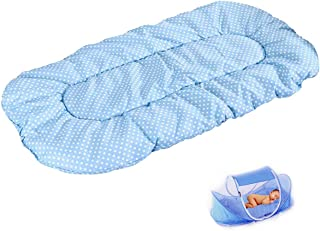 CHRISLZ Summer Mosquito Net for Children,Portable Folding Baby Travel Bed Crib Baby Cots Newborn Foldable Crib (Blue-MAT)