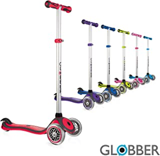 Globber V2 3-Wheel 4 Adjustable Height Scooter Zero Assembly Learn to Steer Patented Steering Lock Great for Kids & Toddlers Girls or Boys Reinforced Body Supports Up to 110lbs