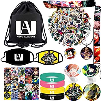 My Hero Academia Bag Gift Sets Including Drawstring Bag Backpack,MAH Stickers,Lanyard,Face-Masks,Keychain,Necklace,Lomo Cards,Bracelets,Phone Ring Holder Button Pins