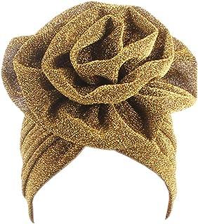 5787eb19761edb Surkat Shiny Flower Turban Shimmer Muslim Hat Chemo Cap Hairwrap Headwear  Beanie Hair Scarf