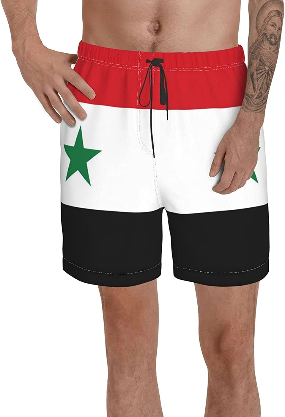 Count Syria Flag Men's 3D Printed Funny Summer Quick Dry Swim Short Board Shorts with