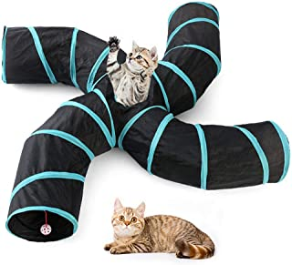 eujiancai Pet Cat Tunnel Toys 4 Way,Indoors Collapsible Cat Tunnels Tubes with Storage Bag,Large Cat Tunnel Play Toy Crinkle For Kitty, Puppy, Rabbits, Kitten, Guinea Pig Outdoor Playing