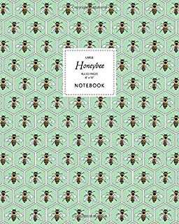 Honeybee Notebook - Ruled Pages - 8x10 - Large: (Green Edition) Fun notebook 192 ruled/lined pages (8x10 inches / 20.3x25....