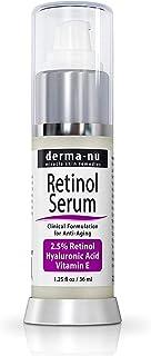 Serum Retinol 25% con ácido hialurónico y vitamina E en suero Por Derma -nu - Mejor suero anti envejecimiento de líneas f...