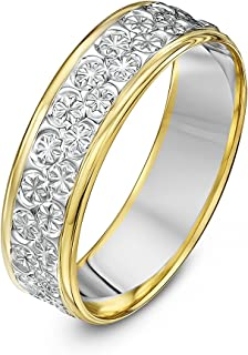 (U, 6 Millimetres, Multicolour) - Theia Two Colours, 9 ct White and Yellow Gold Heavy Flat Diamond Cut 5 mm Wedding Ring