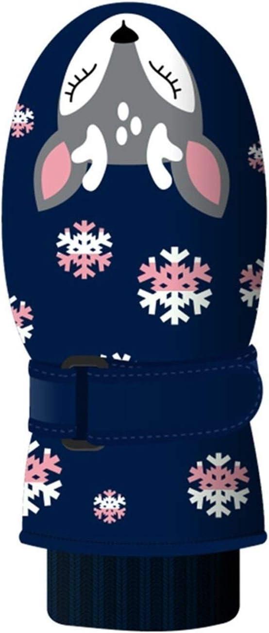 Lupovin-Keep Warm Winter Children Ski Five-Finger Gloves Printed Polyester Waterproof Callous Quick Winter Gloves Children Gloves Non-Slip (Color : Blue)
