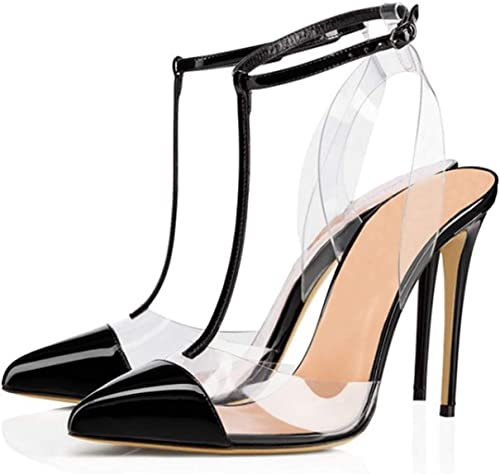 Transparent Rivet High Heel Sandals femmes T Word Word Belt Buckle Pointed Toe Sexy