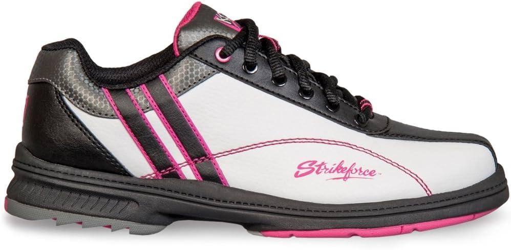 KR Strikeforce L-900-075 Starr Bowling Shoes, White/Black/Pink, Size 7.5