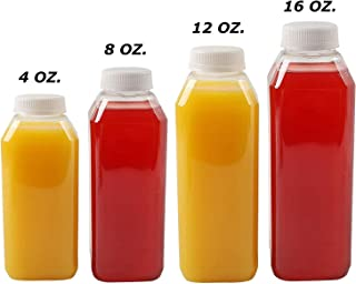 12 Oz Plastic Juice Bottles, 10 Pack Food Grade BPA Free Empty Square Milk Containers, Great For Storing Homemade Juices, Milk, Beverages, With Tamper Evident Caps.