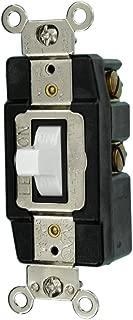Leviton 1257-W 20-Amp 120/277-Volt Toggle Single-Pole AC Quiet Switch, White