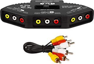 RCA Splitter with 3-Input and 1-Output, Audio and Video RCA Switch Box with Cable for Connecting 3 RCA Signal Devices to 1 Monitor