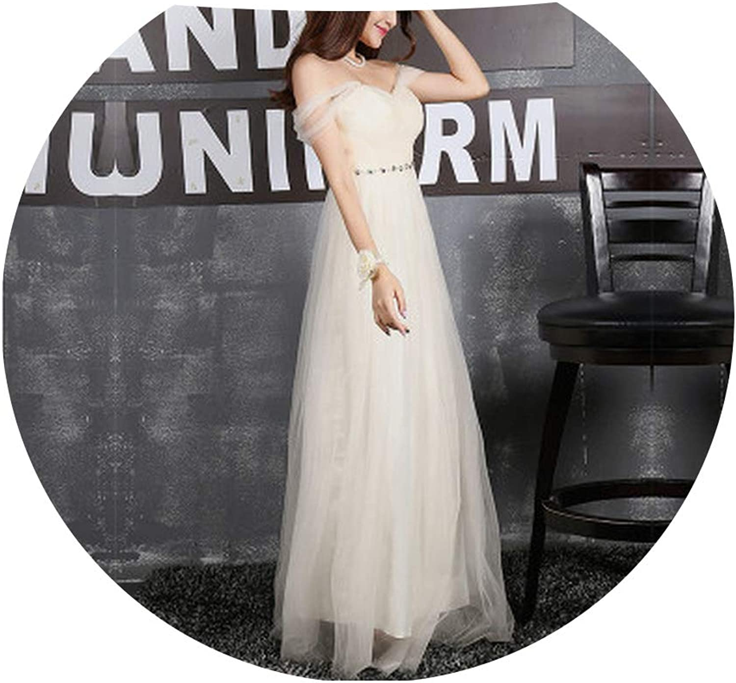 CAFSKYE Long Bridesmaid Dress Sweetheart Tulle Pleated Prom Dresses Bridesmaid Gown Dresses,Champagne Chain,4