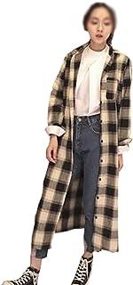 GuDeKe レディース トップス 長袖 チェック柄 ロングシャツ ブラウス カットソー 開襟 シンプル 復古風 無地 ゆったり ファッション
