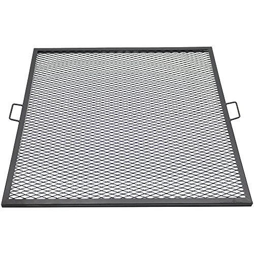Sunnydaze X-Marks Fire Pit Cooking Grill Grate - Outdoor Square Metal BBQ Campfire Grill - Portable Outside Camping Gear Cookware - Bonfire Accessory - 40 Inch