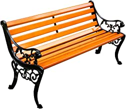 Garden bench outdoor bench, Outdoor terrace bench with armrests and back, Park bench with metal frame and corrosion-resist...