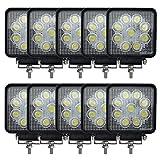 【マート ヴァスト】LEDワークライト(作業灯) 27W(12V-24V対応) 広角タイプ トラック用品、車外灯【10個セット】