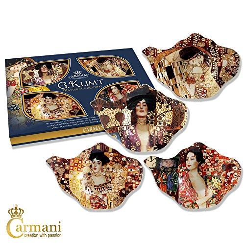 Carmani - Elegante Dish Holder Bolsa de té en la tetera de forma, decorado con 'El Beso' de Gustav Klimt