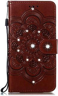 Capa carteira para celular LG K52 / K62 / Q52 PU couro flip [diamante em relevo] [flor mandala] - marrom