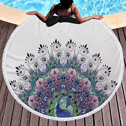 prunushome Outdoor Beach Towel Quick Dry Peacock Lightweight Beach Towel Peacock Illustration Exotic Wildlife Feather Ornament Vintage Oriental Used for Meditation, Poolside Lounging (Diameter 59')