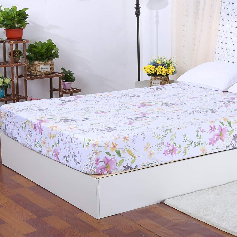 WINLIFE 100% Cotton Sheet - Deep Pocket Bed Sheet Silky Sateen Flowers Fitted Sheet (Queen, Flower 3)