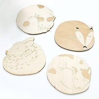 (moin moin) コースター コップマット 楕円形 フラット 木製 ぐっすり 動物 アニマル 4つセット ( 犬 / 猫 / キツネ / 鹿 )
