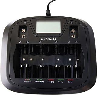 EverActive laddare för 8 batterier AAA AA C D 9 V, universell och snabb, helautomatisk, LCD med procentuell batteriindikat...