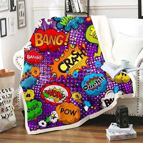 DJSK Manta de Sherpa de Graffiti de Dibujos Animados, Manta cálida y acogedora para Cama, sofá, Viaje, decoración del hogar, Mantas Suaves, 150 * 200 cm