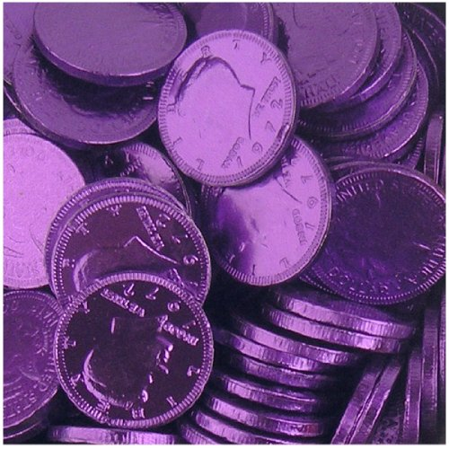 Fort Knox Metallic Foiled Milk Chocolate Deep Purple Large Coins in 1 Lb. Mesh Bag