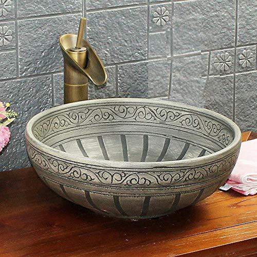 Kasbah-Waschbecken im Vintage-Stil, Antik-Stil, gemustert, handgefertigt, für Badezimmer, Garderobe, rund, Keramik