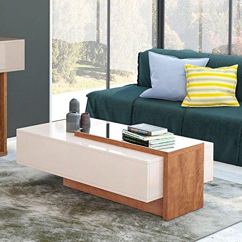 Mesa de Centro Milao Designer Moderno Cor Off White/Amendoa