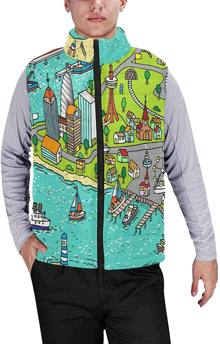 InterestPrint Lightweight Winter Padded with Full Zipper for Men Don't Forget to Be Awesome Pattern