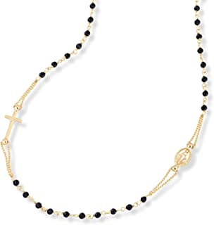MiaBella 18K Gold Over Sterling Silver Italian Handmade Natural Black Spinel Rosary Beaded Sideways Cross Necklace for Women Teen Girls 18, 20 Inch Chain 925 Made in Italy