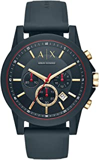 Armani Exchange Men's Stainless Steel Analog-Quartz Watch with Silicone Strap, Blue, 22 (Model: AX1335)