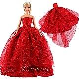 Miunana 1 Moda Vestido Boda Novia Vestir Fiesta Partido Noche y Ropa para Muñeca Barbie Doll Regalo Navidad-Rojo